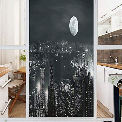 Decorative Window Film,No Glue Frosted Privacy Film,Stained Glass Door Film,Aerial View of Hong Kong City at Night with Full Moon Sky Architecture Mystic Print,for Home & Office,23.6In. by 35.4In Blue