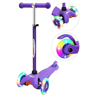 ChromeWheels Scooter for Kids, Deluxe 3 Wheel Scooter for Toddlers 4 Adjustable Height Glider with Kick Scooters, Lean to Steer with LED Flashing Light for Ages 3-6 Girls Boys, Purple : Sports & Outdoors