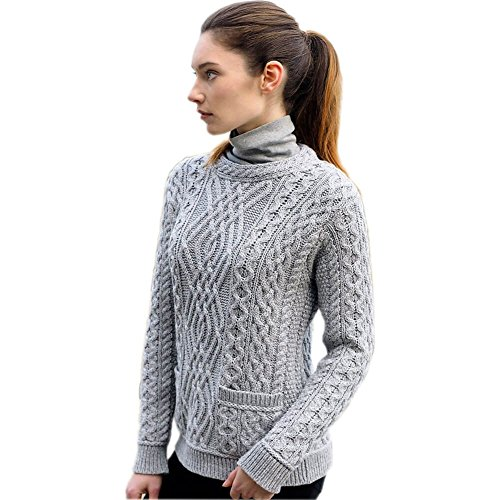 Ladies Fashion Wool Sweater, 100% Pure New Irish Wool, With Pockets, Gray, Large (Cardigan Irish Sweater Fisherman)