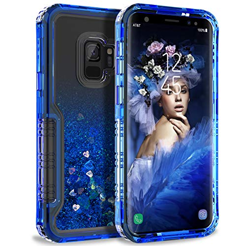- Dexnor Compatible with Samsung Galaxy S9 Case Floating Glitter Bling Moving Liquid Quicksand Hard Cover Clear Transparent Dual Layer Full Protection Bumper for Girls/Women - Blue