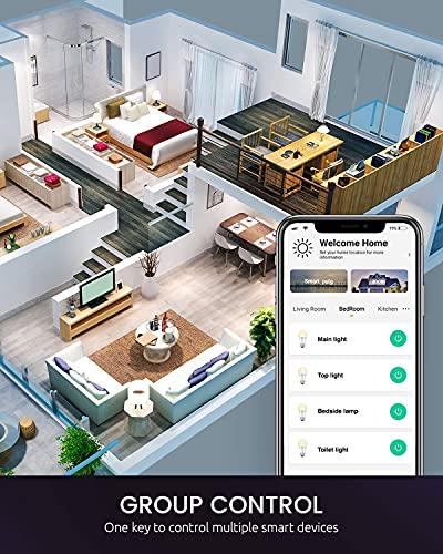 Smart Light Bulbs, Nitebird Color Changing Light Bulb, Smart Bulb Works with Alexa and Google Home, A19 E26 8W RGB Warm White WiFi Light Bulbs, 75W Equivalent, No Hub Required, 4 Pack