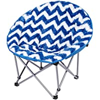 3C4G Folding Moon Chair, Blue Chevron