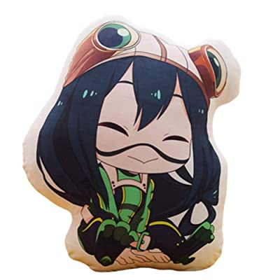 Apehuyuan Anime My Hero Academia Stuffed Figure Plush Figure Doll Toy, Soft Fluffy Decorative Throw Pillow, Double Sided Pattern, Home Living Room Bedroom Decor( Tsuyu Asui): Toys & Games