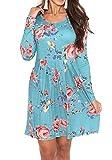 Simier Fariry Women Plain Long Sleeve Loose Swing T Shirt Dress with Pockets Blue S