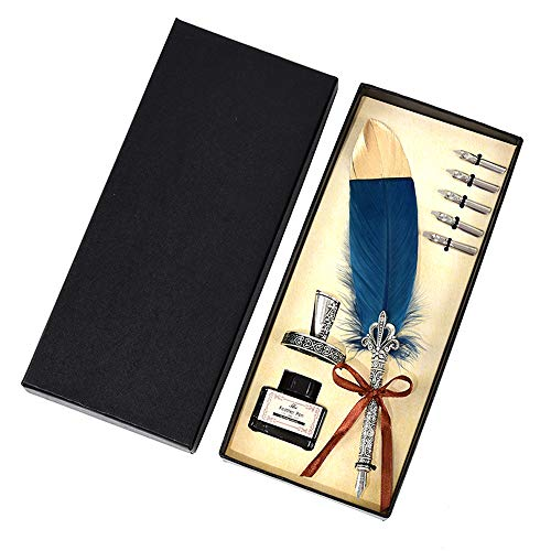 Dip Feather Pen Set Writing Quill Feather Pen Ink Set with Holder and 5pcs Nibs Calligraphy Pen in Gift Box(Navy) (Quill Writing Pen)