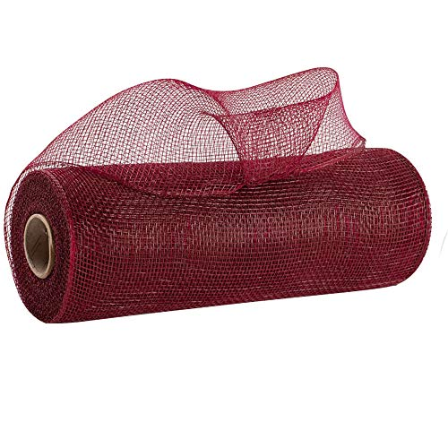 Burgundy Deco Mesh Wreath Decor – 10″ x 10 Yards, Christmas Ribbon Roll, Swag, Tree Topper, Bows, Gifts, Garlands, Presents, Birthday, Anniversary, NYE, Boxing Day