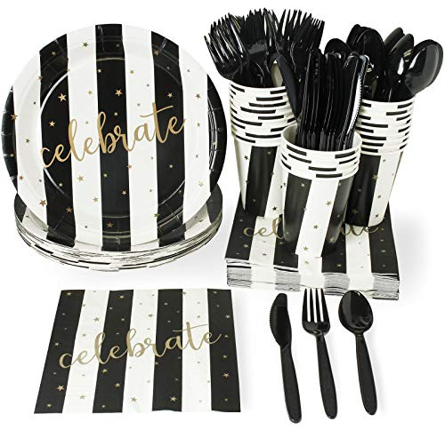 Black and Gold Party Supplies - Serves 24 - Includes Plastic Knives, Spoons, Forks, Paper Plates, Napkins, and Cups, Perfect for New Year's Eve, Anniversary Parties and More