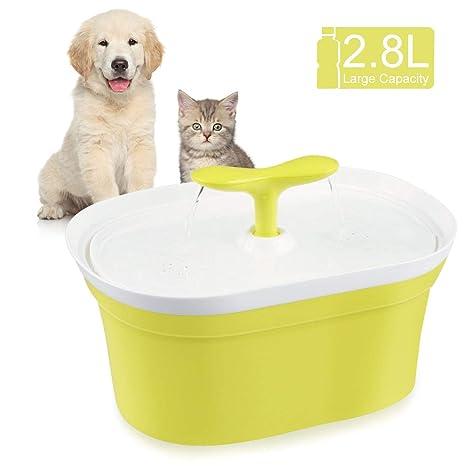 Homga Dispensador Automático de Agua, Bebederos Fuente Agua Gatos Perros Mascotas y 3 Modos Ajustables