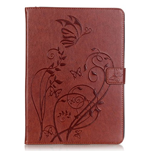 iPad Air Case,PHEZEN Vintage Emboss Flower Butterfly PU Leather Stand Folio Flip Case Book Cover with [Card Slots Magnetic] Full Body Protective Case Cover for iPad Air / iPad 5th Generation ,Brown by UZZO