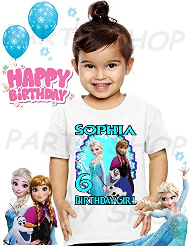 Frozen Birthday Shirt, Elsa, Anna and Olaf FROZEN Birthday Party,ADD any name and age FAMILY Matching Shirts, GIRLS Birthday Shirts, Frozen Girls #1.]()