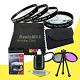 72mm Macro Close Up Kit + 3 Piece Filter Kit for Sony Alpha SLT-A65 with Sony 50mm f/ 1.4 ZA Lens + DavisMAX Fibercloth Deluxe Filter Bundle