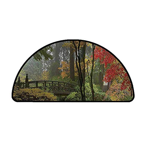 Apartment Decor Comfortable Semicircle Mat,Wet Wooden Bridge at Portland Japanese Garden Oregon in Autumn with Various Trees for Living Room,33.4