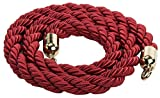 Crowd Control Rope Barrier, 78'' Red Twisted Nylon, Brass End Caps and Hooks