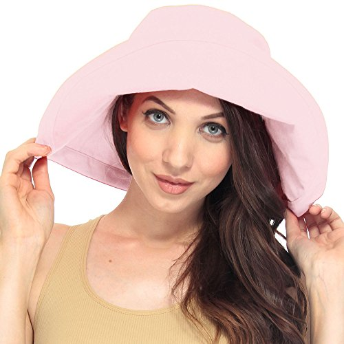 Lullaby Women UPF50+ Summer Beach Hat Wide Brim Foldable Sun Bucket Hat Pink
