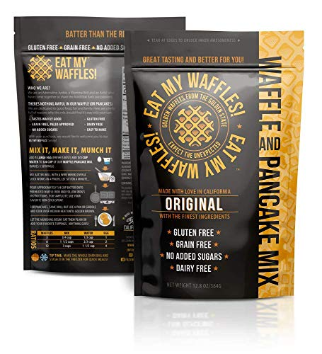 Eat My Waffles - Gluten Free, Dairy Free, Grain-Free and Paleo-Friendly | Waffle Mix made with Almond Flour and No Added Sugars or Other Additives - 12.8 oz, Original Flavor