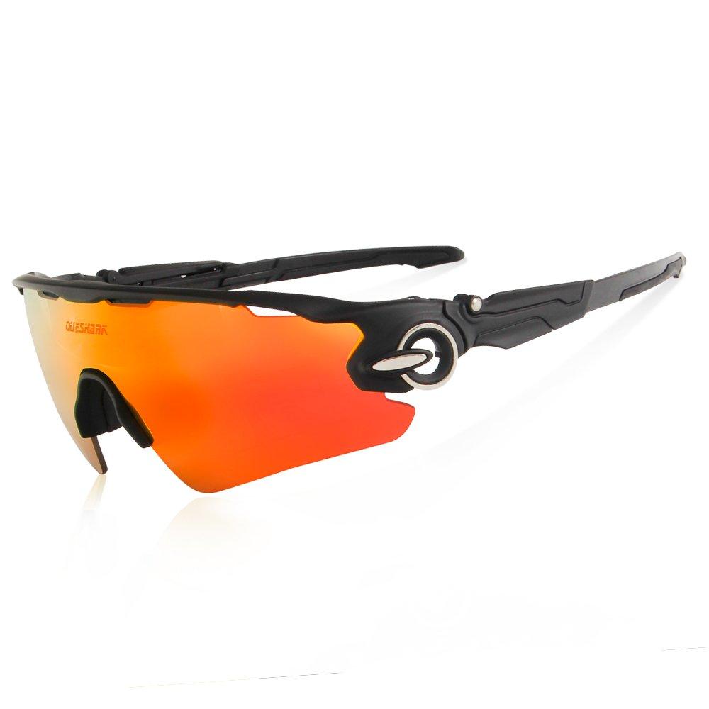 Queshark TR90 UV400 Unisex Gafas de Sol Deportivas Polarizadas 5 Lentes de Cambios Incluido para Deporte y Aire Libre Ciclismo Conducción Pesca Esquiar Golf ...