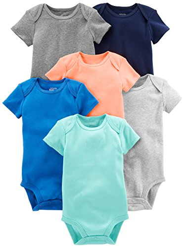 Simple Joys by Carter's Baby Boys' 6-Pack Short-Sleeve Bodysuit, Solid, 0-3 ()