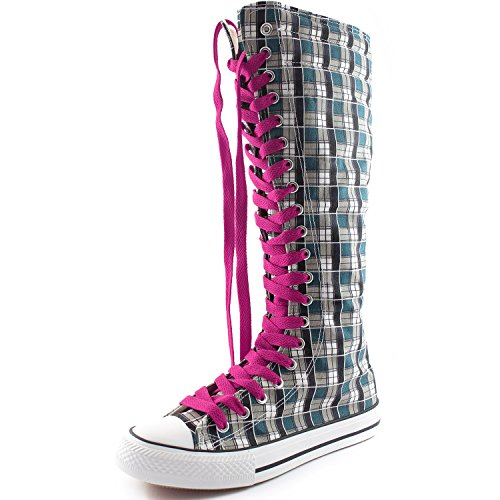 DailyShoes Womens Canvas Mid Calf Tall Boots Casual Sneaker Punk Flat, Cool Magenta Blue Wht Plaid Boots, Cool Magenta Lace
