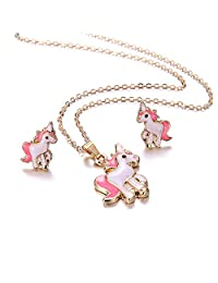 Unicorn Necklace And Unicorn Earrings