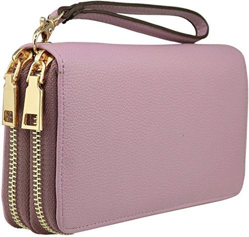 B BRENTANO Vegan Double-Zipper Wallet Clutch with Removable Wrist Strap (Violet) (Removable Wrist Strap)