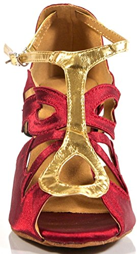 Salabobo L059 Womens Sexy Professional Latin Tango Dance Shoes Satin Custom Heel Red WOjvJpm7L