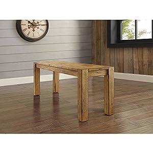 "Bryant Dining Bench, Rustic Brown (sitting)Dimensions: 47.75""W x 14""D x 18""H (121.29 cm x 35.56 cm x 45.72 cm)"