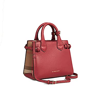 8f7270d7021c Amazon.com  Tote Bag Handbag Burberry The Baby Banner in Leather and House  Check Ink Russet Red Item 40140751  Shoes