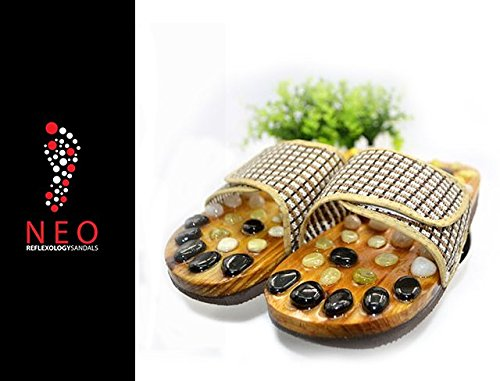 Acupressure Massage Slippers with Natural Stone, Therapeutic Reflexology Sandals for Foot Acupoint Massage Shiatsu Arch Pain Relief, Nonslip Anti Bacterial, Fit 9.5 Men / 11 Women Feet Size