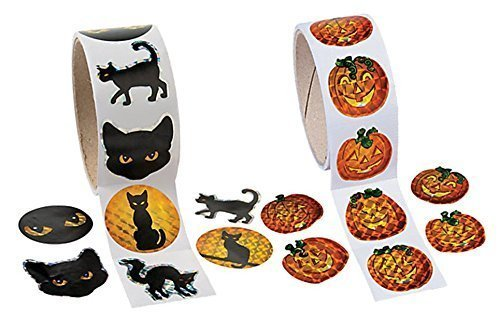 Fun Express~ 200 Jack-O-Lantern Pumpkin and Black Cat Halloween PRISM Stickers, (2 Rolls of 100) ()