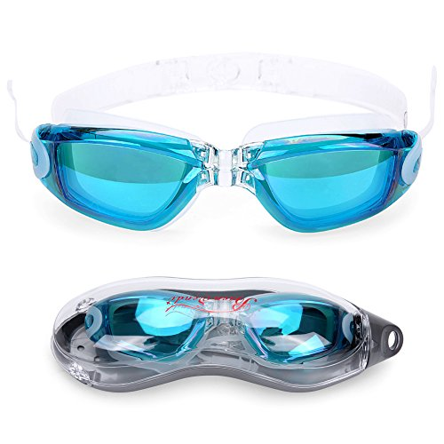 Baen Sendi Swimming Goggles with Siamese Ear Plugs - UV Protection Anti Fog - Best Adult Swim Goggles (Lake - Ocean Goggles Best
