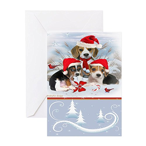 CafePress - Beagle Puppies Christmas Scen Greeting Cards (Pk O - Greeting Card (20-pack), Note Card with Blank Inside, Birthday Card Matte (Christmas Scen)