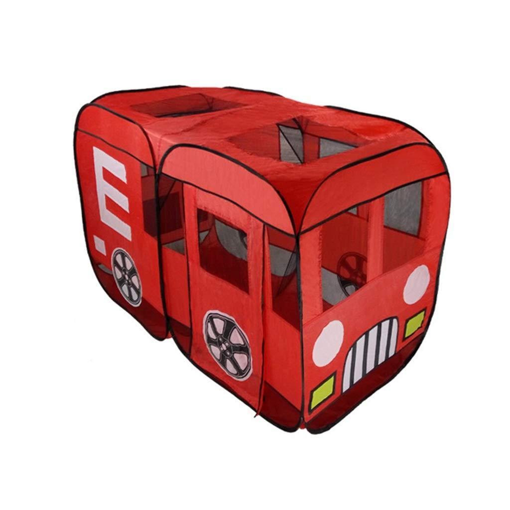 Baby-Spielzeug-Raum, Zelt der Kinder Rotes Bus-Spiel-Haus-großer Moskito-Innen- und Ozean-Ball-Pool-Spielzeug-Speicher-Haus 140  90  75CM