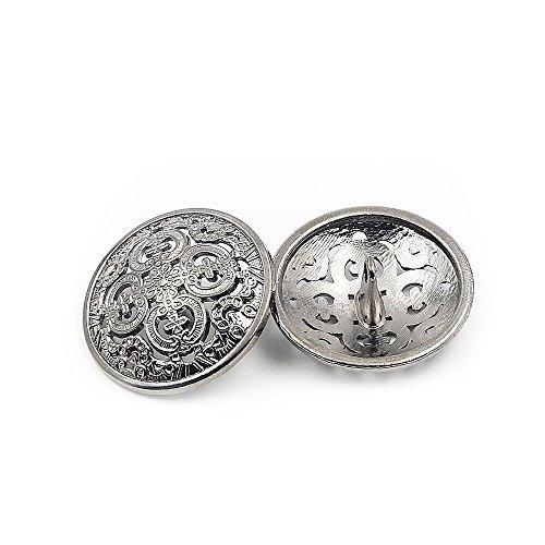 10PCS Clothes Button - Retro Hollow Sewing Button Shank Round Shaped Metal Button Set for Men Women Blazer, Coat, Uniform, Shirt, Suit and Jacket (Silver, 25mm) (Silver Round Button)