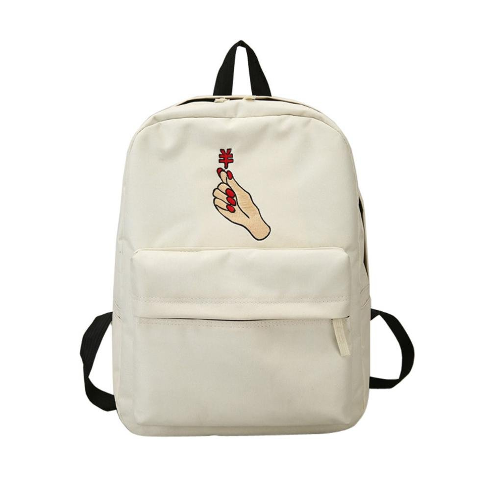 Women Girls Embroidery Heart Gesture School Bag Travel Backpack Bag (White a)