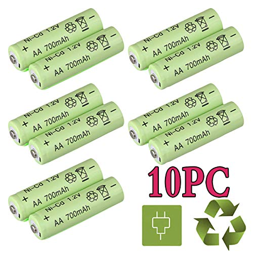 (Shine Tool 10 Pack AA Rechargeable Battery NiCd 700mAh 1.2V AA Battery for Solar Garden Light LED Flashlight Toy Car)