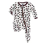 Kickee Pants Little Girls Print Footie with Zipper - Natural Coffee Beans, Newborn