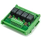 ELECTRONICS-SALON DIN Rail Mount 4 SPDT Power Relay Interface Module, 10A Relay, 24V Coil.