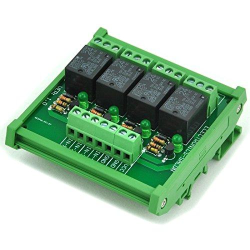 ELECTRONICS-SALON DIN Rail Mount 4 SPDT Power Relay Interface Module, 10A Relay, 24V Coil.