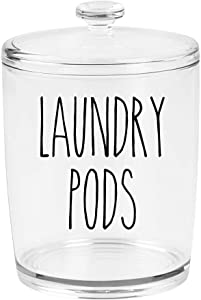Black - Laundry Pods Vinyl Decal - Skinny Farmhouse Style for Laundry Room - 5w x 5.5h inches - Die Cut Sticker