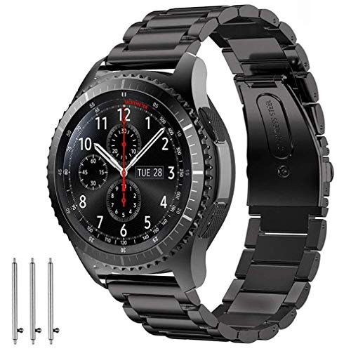 Ticwatch Pro & Gear S3 Bands, Olytop 22mm Quick Release Stainless Steel Metal Bands Replacement Strap Bracelet for Ticwatch Pro & Samsung Gear S3 Frontier/Classic & Smartwatch (Metal Black)