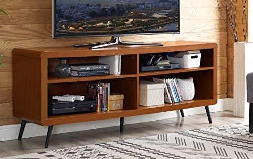 WE Furniture 58″ Rounded Corner Wood TV Console – Acorn 51zY170VuHL