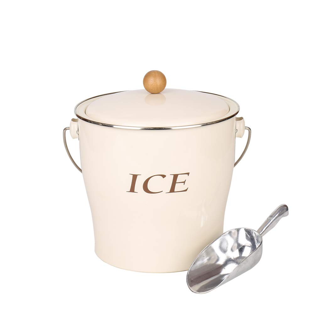Home by Jackie Inc T686 Cream White 4L Metal Double Walled Ice Bucke Set/Home Kitchen Gifts With Lid/wooden Handle And Scoop by Home by Jackie Inc