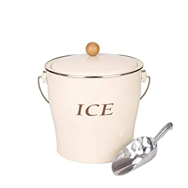 Home by Jackie Inc T686 Cream White 4L Metal Double Walled Ice Bucke Set/Home Kitchen Gifts With Lid/wooden Handle And Scoop