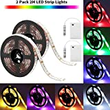 SOLMORE LED Strip Lights Battery Operated 2m/6.6ft 5050 SMD 60LEDs Color Changing RGB LED Light Strip Flexible LED Strip Kit Waterproof Strip Lighting for Home Bedroom DIY Party Indoor Outdoor (2Pcs)