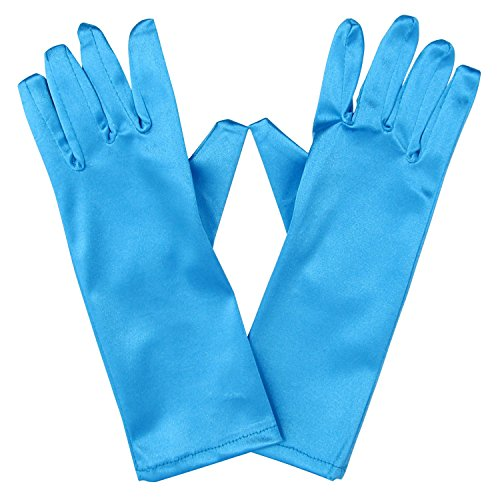 So Sydney Kids Long Dress-Up Princess Costume Gloves, Soft Satin Shimmer Fabric (Blue Ice (Frozen