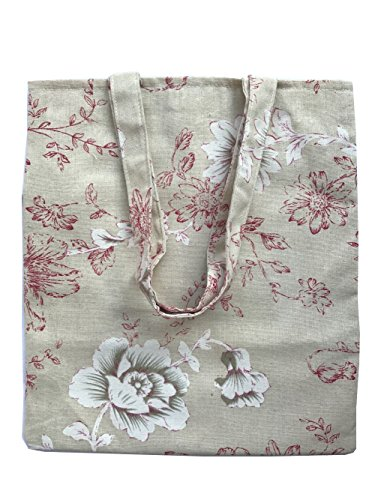 Brown Canvas Tote (Caixia Women's Cotton Daisy Floral Canvas Tote Shopping Bag Light Brown (Red-Zip))