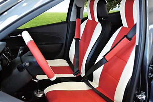 red and white leather seat covers - 1