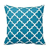 Teal Blue and White Decorative Cushion Covers Throw Pillow Case Moroccan Quatrefoil Pattern Print Square Two Sides 20x20 Inch