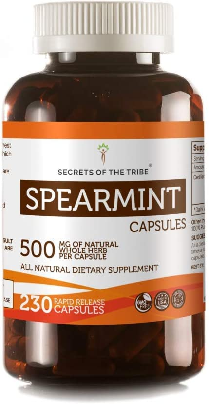Secrets Of The Tribe Spearmint Capsules 500 mg Organic Spearmint Mentha spicata Dried Leaf, Women s Hormone Support Supplement 230 Capsules