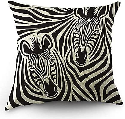 Almohadas Zebra Funda de almohada decorativa Throw Funda de almohada Safari Rayas de animales africanos Funda de almohada Zebras Funda de cojín de ...